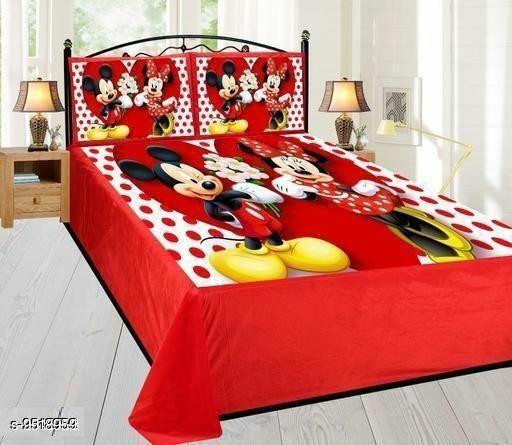 Navratri/Red - Classic Velvet Printed Double Bedsheet