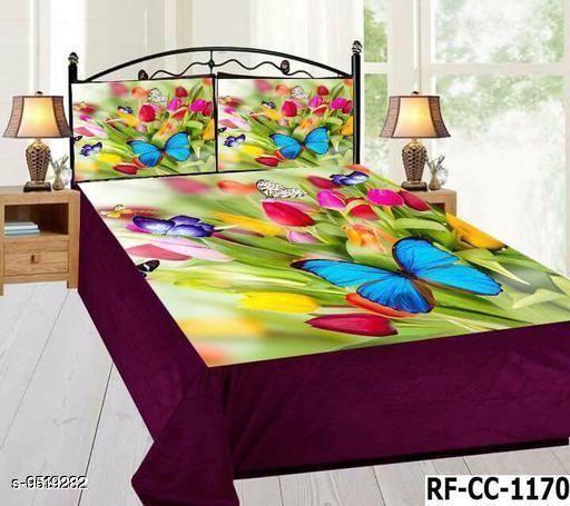 Navratri/Purple - Trendy Velvet 105 X 95 Double Bedsheet