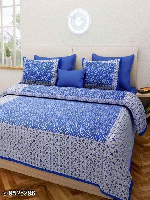 Navratri/Blue - Attractive Cotton 100 X 90 Double Bedsheets
