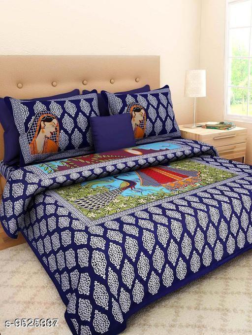 Navratri/Blue - Trendy Cotton 100 X 90 Double Bedsheets