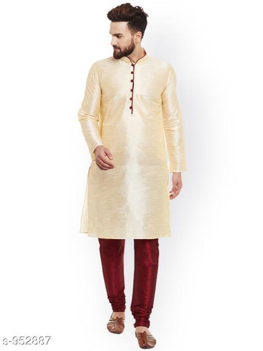 Kurta Sets Traditional Cotton Blend Men's Kurta Pyjama Set  *Fabric* Kurta- Cotton Blend, Pyjama- Cotton Blend  *Sleeves* Kurta- Full Sleeves Are Included  *Size* Kurta- S, M, L, XL, XXL (Refer Size Chart For Details), Pyjama- S- 28 in, M- 30 in, L- 32 in, XL- 34 in, XXL- 36 in         *Length* Kurta- Refer Size Chart, Pyjama - Up To 50 in  *Description* It Has 1 Piece Of Men's Kurta and 1 Piece Of Men's  Pyjama  *Pattern* Solid  *Sizes Available* S, M, L, XL, XXL *    Catalog Name: Men's Ethnic Fancy Kurta Pyjama Sets Vol 3 CatalogID_112579 C66-SC1201 Code: 556-952887-