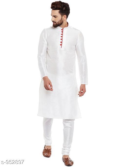 Kurta Sets Traditional Cotton Blend Men's Kurta Pyjama Set  *Fabric* Kurta- Cotton Blend, Pyjama- Cotton Blend  *Sleeves* Kurta- Full Sleeves Are Included  *Size* Kurta- S, M, L, XL, XXL (Refer Size Chart For Details), Pyjama- S- 28 in, M- 30 in, L- 32 in, XL- 34 in, XXL- 36 in         *Length* Kurta- Refer Size Chart, Pyjama - Up To 50 in  *Description* It Has 1 Piece Of Men's Kurta and 1 Piece Of Men's  Pyjama  *Pattern* Solid  *Sizes Available* S, M, L, XL, XXL *    Catalog Name: Men's Ethnic Fancy Kurta Pyjama Sets Vol 3 CatalogID_112579 C66-SC1201 Code: 556-952897-