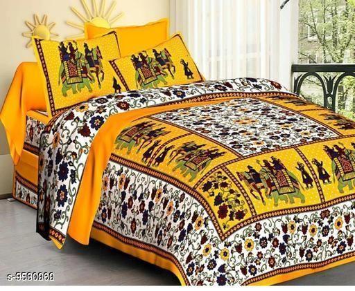 Navratri/White - Trendy Cotton 100 x 90 Double Bedsheet