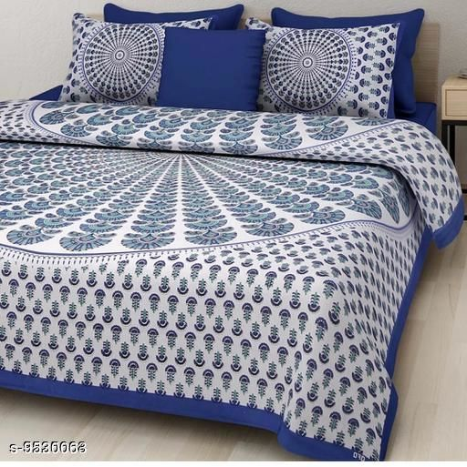 Navratri/White - Trendy Sanganeri Print Cotton100*90 Queen Double Bedsheet