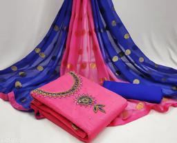 Any Designer Women's Cotton Chanderi Khatli Handwork Unstitched Salwar Suit With Fancy Dupatta