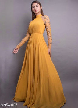 Stunning Mustard-Colored 8 Meter Flared Maxi Gown With Embellished Sleeves.