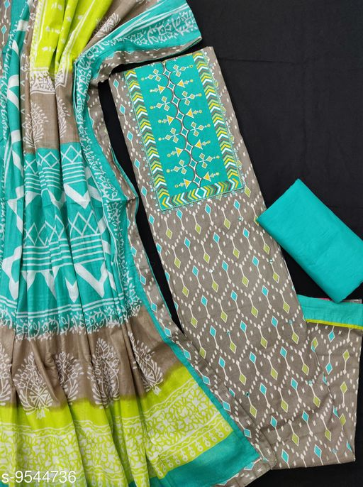 Designer Cotton Dupatta With Heavy Neck Patchwork Suits & Dress Materials