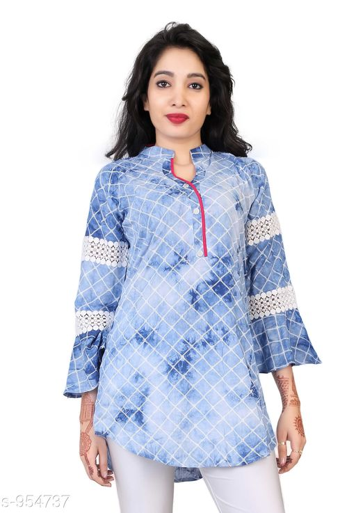 Kurtis & Kurtas Everyday Short Length Women's Kurti  *Fabric* Cotton  *Sleeves* 3/4 Sleeves Are Included  *Size* L - 40 in, XL - 42 in, XXL - 44 in  *Length* Up To 28 in  *Type* Stitched  *Description* It Has 1 Piece Of Women's Short Length Kurtis  *Work* Lace Printed  *Sizes Available* L, XL, XXL   Supplier Rating: ★3.8 (721) SKU: AGSPL-3266W-KT-SKYBLUE Shipping charges: Rs1 (Non-refundable) Pkt. Weight Range: 300  Catalog Name: Chintana Everyday Short Length Women's Kurtis Vol 1 - appex garments Code: 066-954737--458