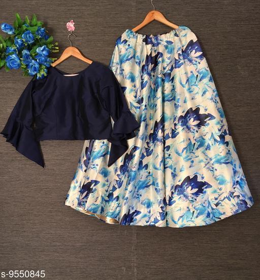 Lehengas Exclusive Floral Printed Satin Crop Top Lehenga Choli   *Top wear Fabric* Silk  *Bottom wear Fabric* Satin  *Top Print or Pattern Type* Plain  *Bottom Print or Pattern Type* Floral Printed  *Sizes*   *Free Size (Lehenga Waist Size* 44 in, Lehenga Length Size  *Flair* 4.25+ Meter (Umbrella Style)  *Sizes Available* Free Size *    Catalog Name: Exclusive Floral Printed Satin Crop Top Lehenga Choli CatalogID_1684505 C74-SC1005 Code: 3331-9550845-