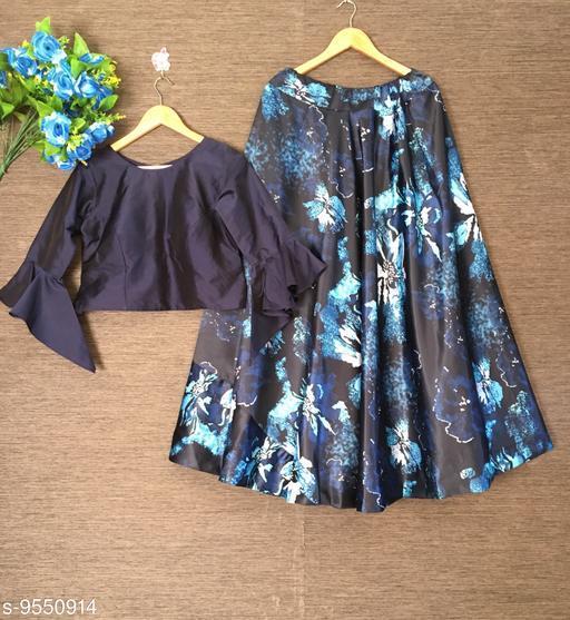 Lehengas Exclusive Floral Printed Satin Crop Top Lehenga Choli   *Top wear Fabric* Silk  *Bottom wear Fabric* Satin  *Top Print or Pattern Type* Plain  *Bottom Print or Pattern Type* Floral Printed  *Sizes*   *Free Size (Lehenga Waist Size* 44 in, Lehenga Length Size  *Flair* 4.25+ Meter (Umbrella Style)  *Sizes Available* Free Size *    Catalog Name: Exclusive Floral Printed Satin Crop Top Lehenga Choli CatalogID_1684505 C74-SC1005 Code: 3331-9550914-