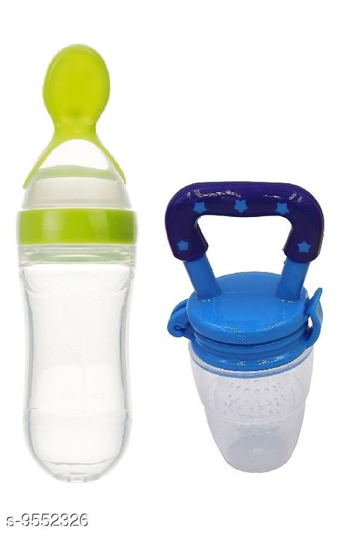 Tiny Tycoonz BPA Free Silicone Made Food Grade 90 ml Baby Feeding Bottle and Food Grape Food/Fruit Pacifier