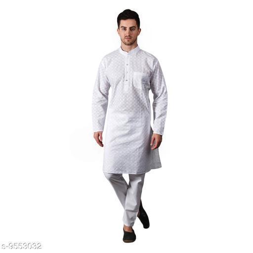 ETHICO Mens Chicken White Kurta Pajama Set