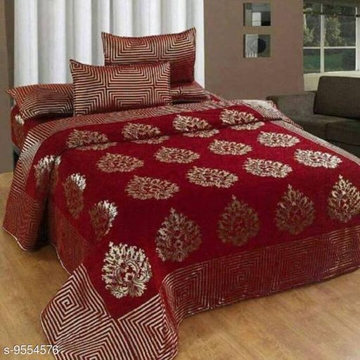 HomeStore-YEP Chennile Bedsheet with 2 Pillow Covers For Double Bed Size 90x100 Inches Mehroon