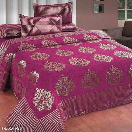 HomeStore-YEP Chennile Bedsheet with 2 Pillow Covers For Double Bed Size 90x100 Inches Pink