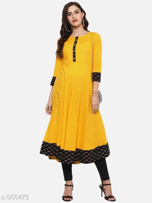 Women Cotton Flared Printed Yellow Kurti