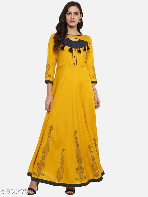 Women Viscose Rayon Flared Printed Yellow Kurti
