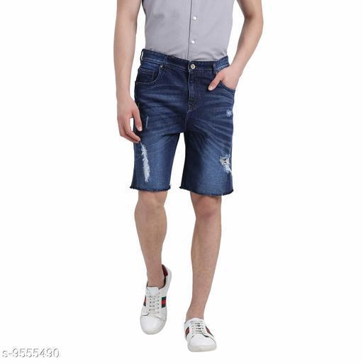 Realm Men Blue Washed Distressed Slim Fit Denim Shorts
