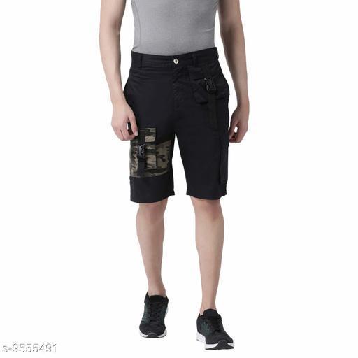 REALM Men Navy Blue Solid Regular Fit Cargo Shorts