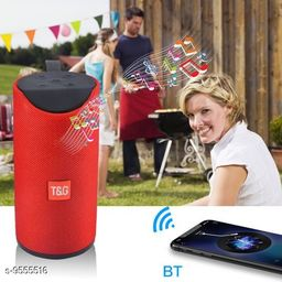 TG-113 Bluetooth Portable Stereo Speaker with Rich Bass | Loud Sound | Built-in Mic for All Smartphone Device (Red Colour)