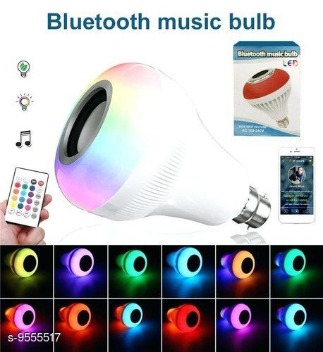 Bluetooth Color Changing led Light Bulb with in Built Speaker Home Decorating Smart Bulb Compatible for All Device/Random Color B-22 Base