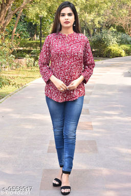 Women's Printed Maroon Rayon Top