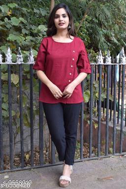 Women's Solid Maroon Cotton Top