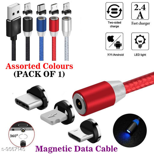Multi Charging Cable, 3 in 1 Nylon Braided Fast Charging Cord Magnetic Charger USB Cable for iPhone Micro USB Type C Mobile Phone Cable Fast Charging Magnet Charger USB Wire Cord