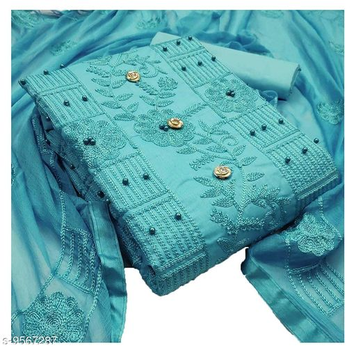 Any Designer Women's Cotton Embroidery Highly Fininshing and Pearl Work With Heavy Worked Dupatta Salwar Suit Dress Material For Women And Girls