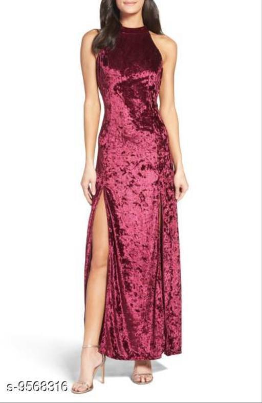 Stylish women maroon velvet dress