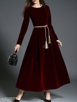 Stylish women's maroon long velvet dress