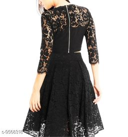 Stylish women's black net top and skirt combo