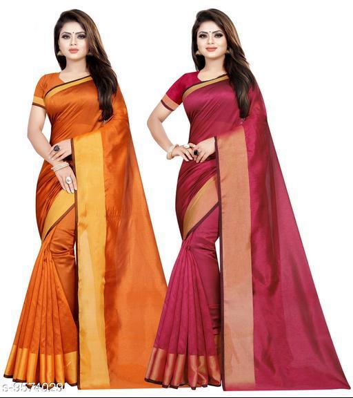 Cotton Silk Woven Combo of 2 Saree (Orange-Pink_Free Size)