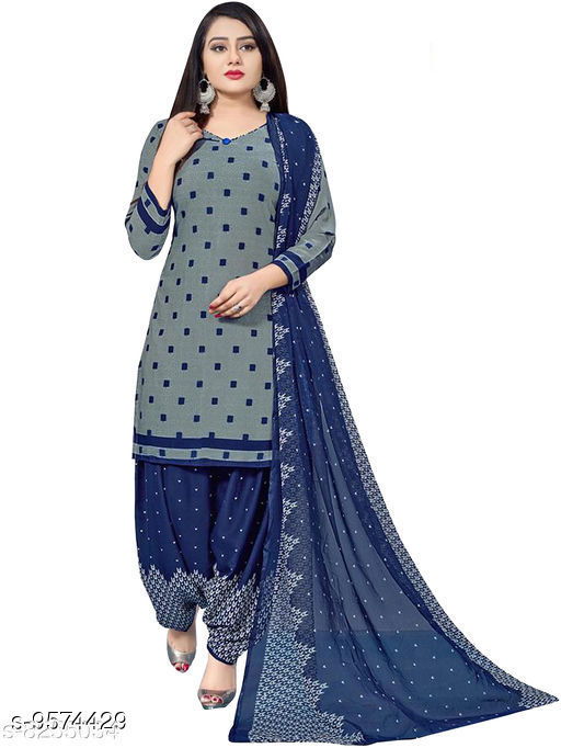 Rajnandini Grey Cotton Printed Unstitched Dress Material With Printed Dupatta