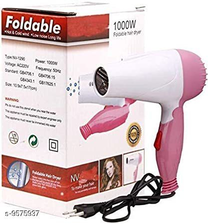 Hair Dryers  Arzet NV-1290  Professional  Electric Foldable Hair Dryer for Men & Women with Stylish Nozzle, 2 Speed Control and Heavy Duty Plastic Body  *Product Name* Arzet NV-1290  Professional  Electric Foldable Hair Dryer for Men & Women with Stylish Nozzle, 2 Speed Control and Heavy Duty Plastic Body  *Brand Name* Arzet  *Ideal For* Unisex  *Type* Wired  *Sizes Available* Free Size *    Catalog Name:  Arzet / Arzet   Mobile CatalogID_1690702 C50-SC1493 Code: 713-9575937-