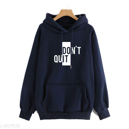 Divra Clothing Unisex Regular Fit Dont Quit Printed Cotton Hoodie