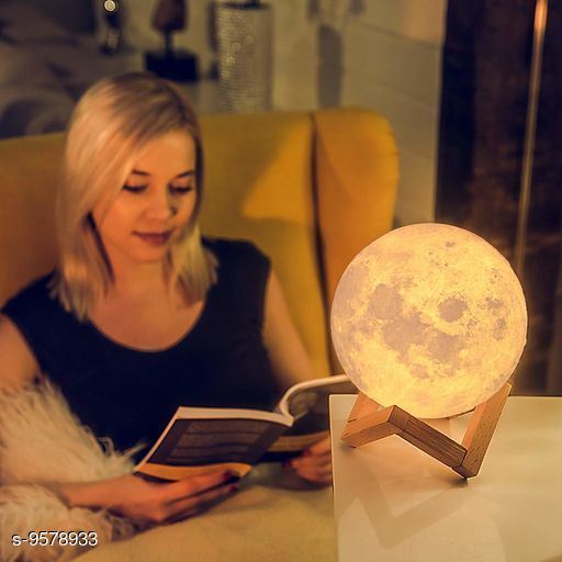 Trendy Wood 3D USB Rechargeable Moon Lamp