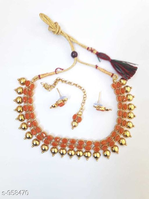 Jewellery Set Trendy Copper Necklace Set  *Material* Copper  *Size* Free Size  *Description* It Has 1 Piece Of Necklace With 1 Pair Of Earring & 1 Piece Of Maangtikka  *Work* Beads Work  *Sizes Available* Free Size *    Catalog Name: Ladies  Elegant Copper Jewellery Set CatalogID_113323 C77-SC1093 Code: 742-958470-