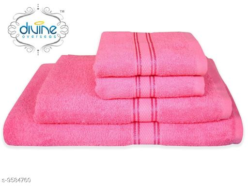 Bath & Beach Towels Bath and hand towel set ( 4 Piece set )  *Material* Cotton  *Pattern * Solid  *Multipack* 4  *Sizes*   *Gents Bath Towel Size * (Length Size  *ladies bath towel size * (Length Size  *Hand towel size * (Length Size  *Sizes Available* Free Size *    Catalog Name: Elegant Attractive Bath Towels CatalogID_1692847 C71-SC1110 Code: 6501-9584760-
