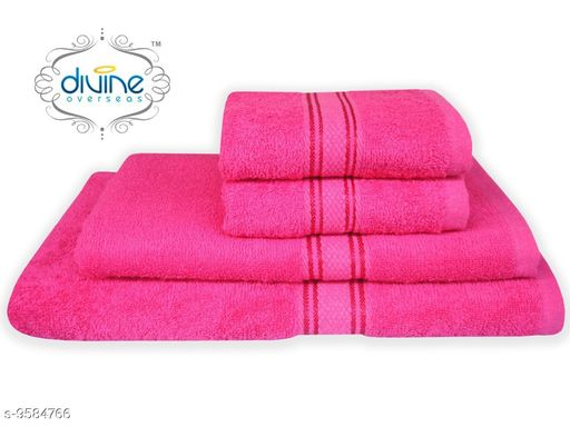 Bath & Beach Towels Bath and hand towel set ( 4 Piece set )  *Material* Cotton  *Pattern * Solid  *Multipack* 4  *Sizes*   *Gents Bath Towel Size * (Length Size  *ladies bath towel size * (Length Size  *Hand towel size * (Length Size  *Sizes Available* Free Size *    Catalog Name: Elegant Attractive Bath Towels CatalogID_1692847 C71-SC1110 Code: 6501-9584766-