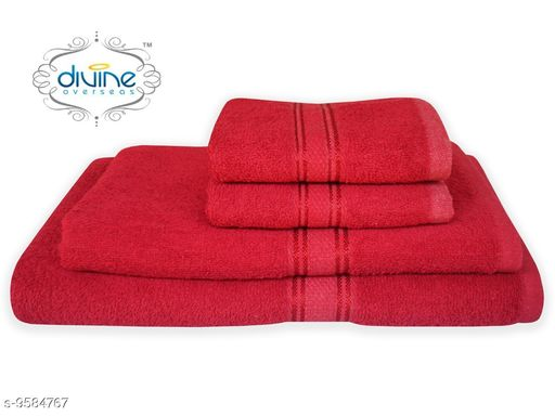 Bath & Beach Towels Bath and hand towel set ( 4 Piece set )  *Material* Cotton  *Pattern * Solid  *Multipack* 4  *Sizes*   *Gents Bath Towel Size * (Length Size  *ladies bath towel size * (Length Size  *Hand towel size * (Length Size  *Sizes Available* Free Size *    Catalog Name: Elegant Attractive Bath Towels CatalogID_1692847 C71-SC1110 Code: 6501-9584767-