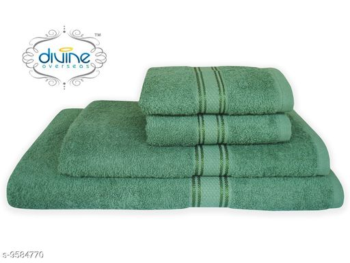 Bath & Beach Towels Bath and hand towel set ( 4 Piece set )  *Material* Cotton  *Pattern * Solid  *Multipack* 4  *Sizes*   *Gents Bath Towel Size * (Length Size  *ladies bath towel size * (Length Size  *Hand towel size * (Length Size  *Sizes Available* Free Size *    Catalog Name: Elegant Attractive Bath Towels CatalogID_1692847 C71-SC1110 Code: 6501-9584770-