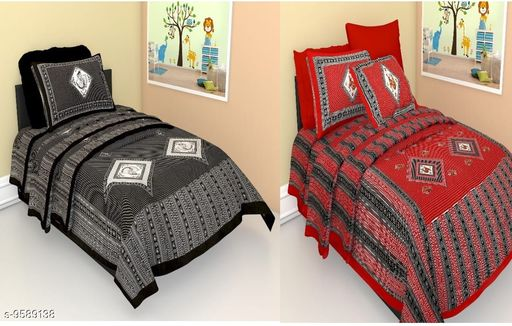 Combo Pack of 2 Jaipuri Single Bedsheet with 2 pillow covers