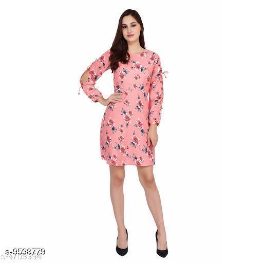 Women's Printed Pink Crepe Dress