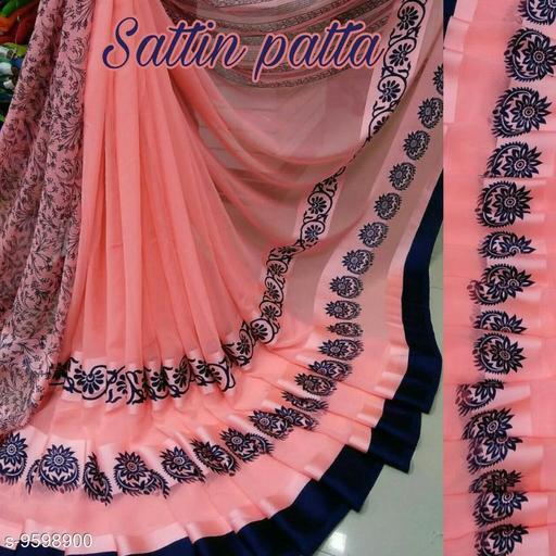 Gajanan Printed Satin Patta Sarees With Blouse Piece