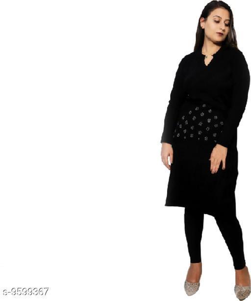 Women Wool Straight Solid Sequinned Kurti