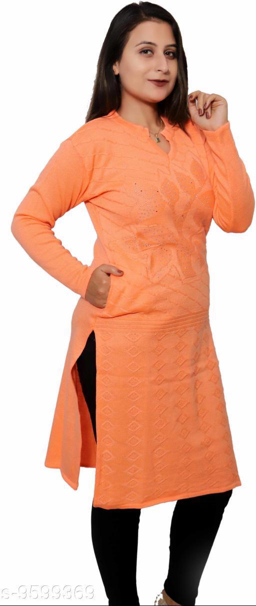 Women Wool A-line Self-Design Orange Kurti