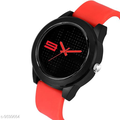 MT - 107 RED Blac k Dial Red Rubber Belt and Black Case Analogue MT Watch for Men's and Boy's (1 PCS )