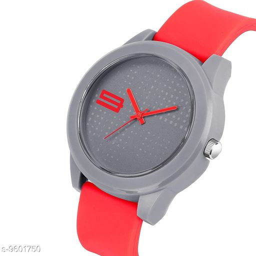 MT - 108 RE D GRAY Stylish Silver Dial Red Rubber Belt and Silver Case Analogue MT Watch for Men's and Boy's (1 PCS)