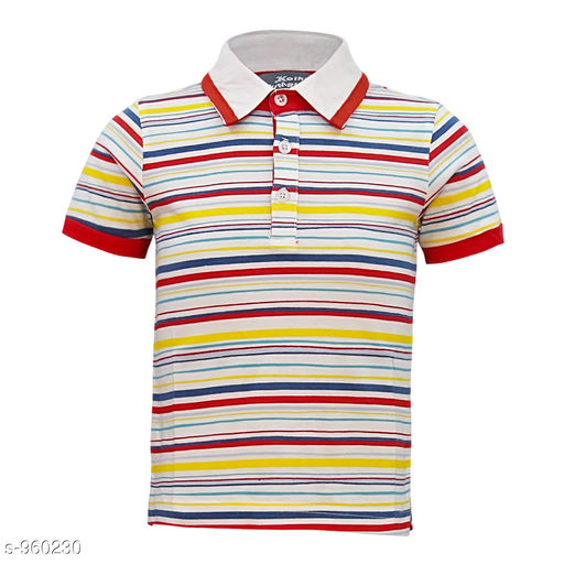 Tshirts & Polos Elegant Cotton Knitted Boy's Tshirt  *Fabric* Cotton Knitted  *Sleeves* Half Sleeves Are Included  *Size* Age Group (2 - 3 Years) - 20 in Age Group (3 - 4 Years) - 22 in Age Group (5 - 6 Years) - 24 in Age Group (7 - 8 Years) - 26 in  *Type* Stitched  *Description* It Has 1 Piece Of Boy's Tshirt  *Work* Striped  *Sizes Available* 2-3 Years, 3-4 Years, 5-6 Years, 7-8 Years *   Catalog Rating: ★4 (95)  Catalog Name: Stylo Bug Amazing Cotton Knitted Boy's Tshirts Vol 1 CatalogID_113543 C59-SC1173 Code: 932-960230-