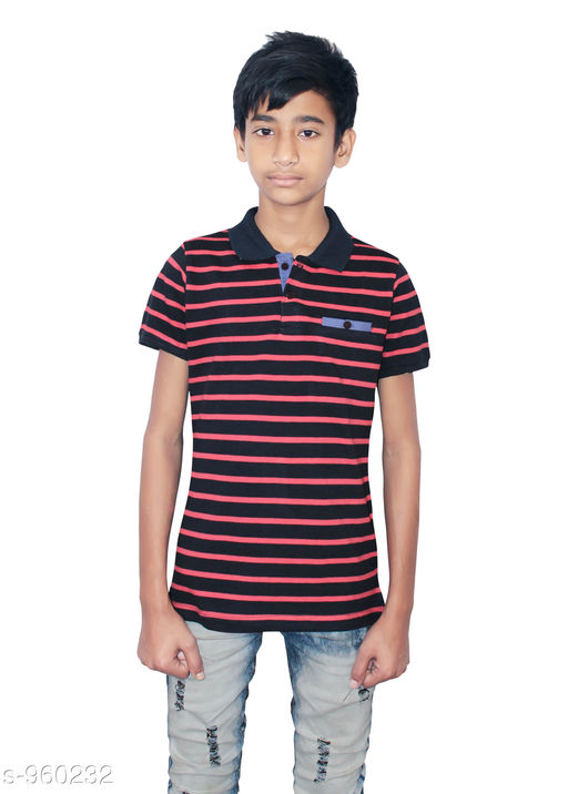 Tshirts & Polos Elegant Cotton Knitted Boy's Tshirt  *Fabric* Cotton Knitted  *Sleeves* Half Sleeves Are Included  *Size* Age Group (9 - 10 Years) - 28 in Age Group (10 - 11 Years) - 30 in Age Group (11 - 12 Years) - 32 in Age Group (12 - 13 Years) - 34 in  *Type* Stitched  *Description* It Has 1 Piece Of Boy's Tshirt  *Work* Striped  *Sizes Available* 8-9 Years, 9-10 Years, 10-11 Years, 11-12 Years, 12-13 Years *   Catalog Rating: ★4 (95)  Catalog Name: Stylo Bug Amazing Cotton Knitted Boy's Tshirts Vol 1 CatalogID_113543 C59-SC1173 Code: 702-960232-